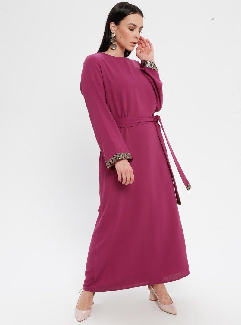 Panaline Fuşya Payet Detaylı Elbise