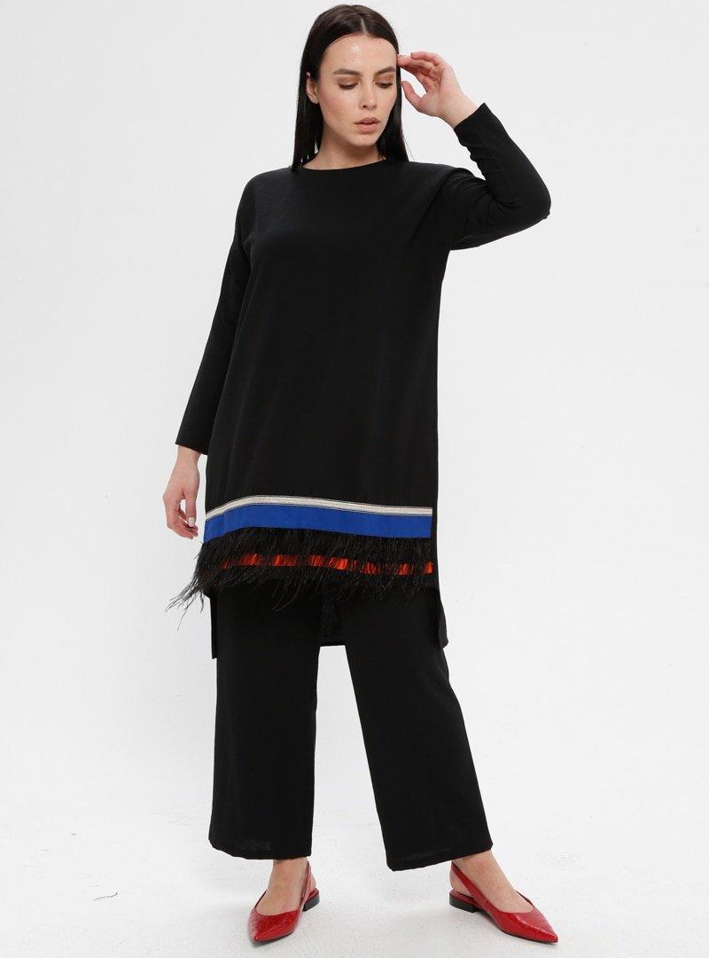 Efraze Siyah Tunik&Pantolon İkili Takım
