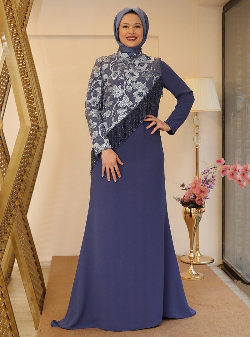 Saliha İndigo Royal Abiye Elbise