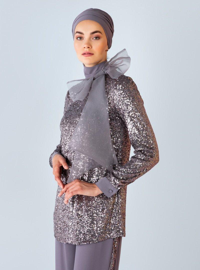 Nihan Peker X Modanisa Gümüş Payet Detaylı Pantolon