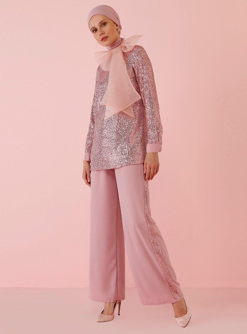 Nihan Peker X Modanisa Rose Payet Detaylı Pantolon
