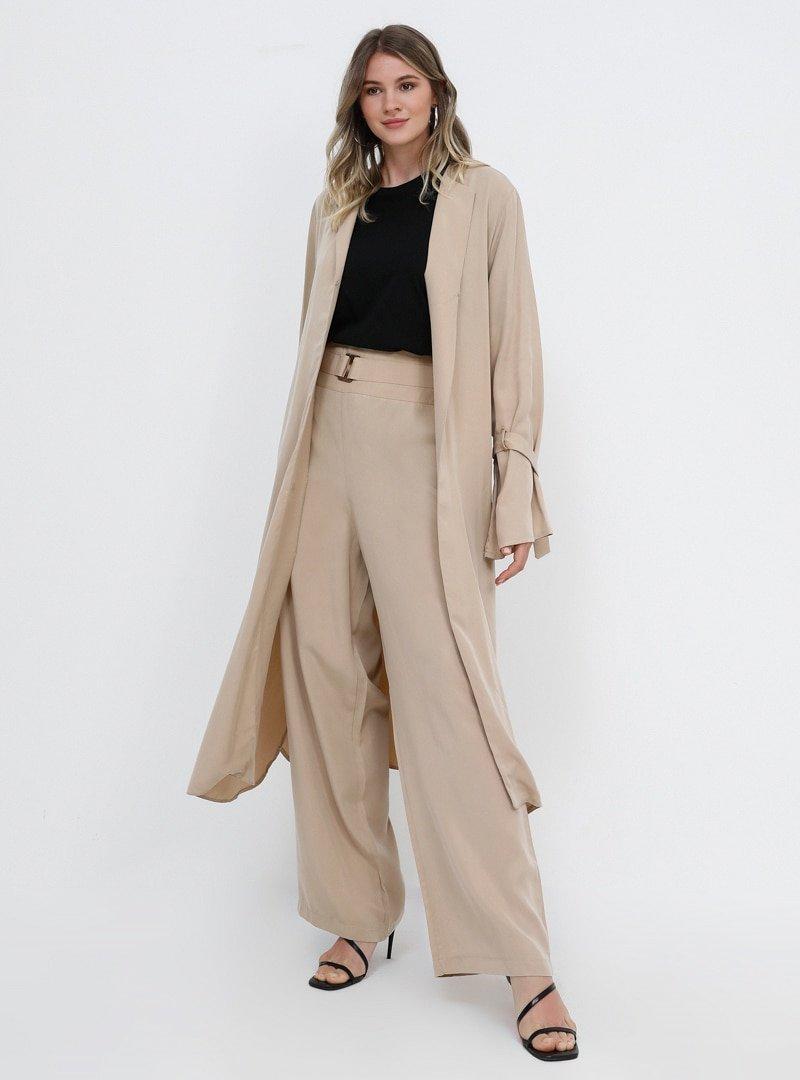 Alia Açık Camel Doğal Kumaşlı Bol Paça Pantolon