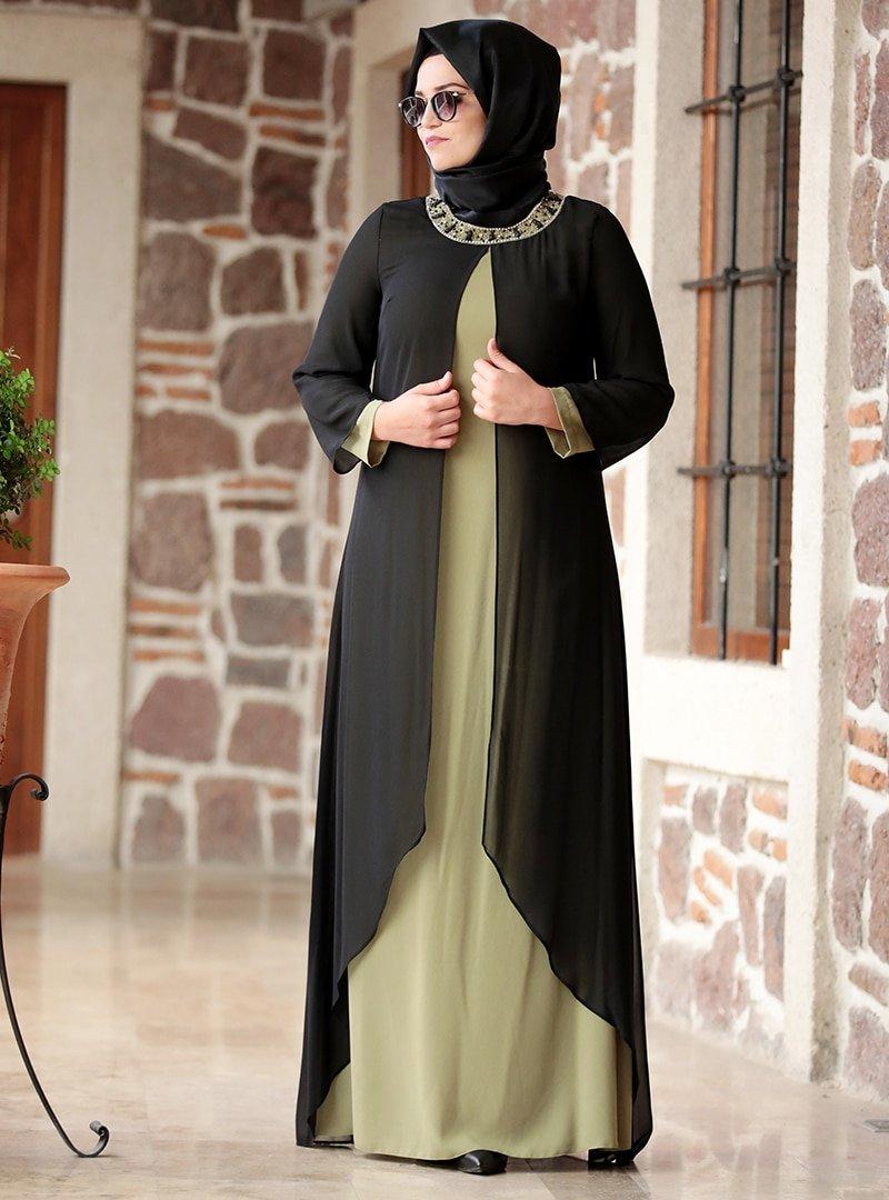 Amine Hüma Siyah Haki Yakası Taşlı Abiye Elbise