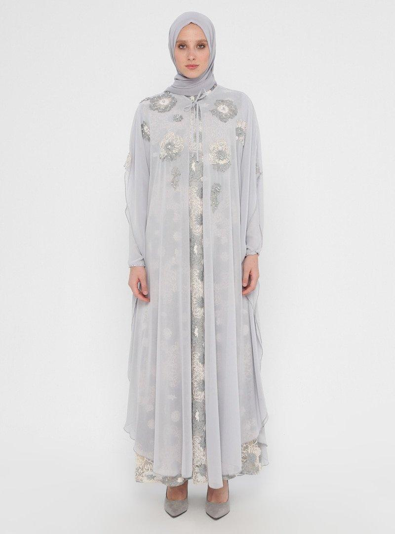 SomFashion Gri Pelerinli Abiye Elbise