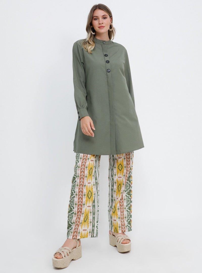 Alia Haki Sarı Doğal Kumaşlı Etnik Desenli Pantolon