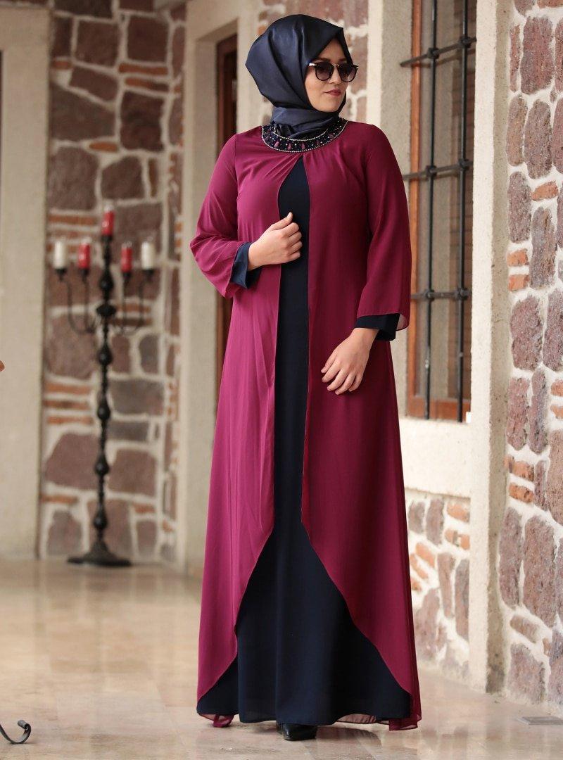 Amine Hüma Mürdüm Lacivert Yakası Taşlı Abiye Elbise