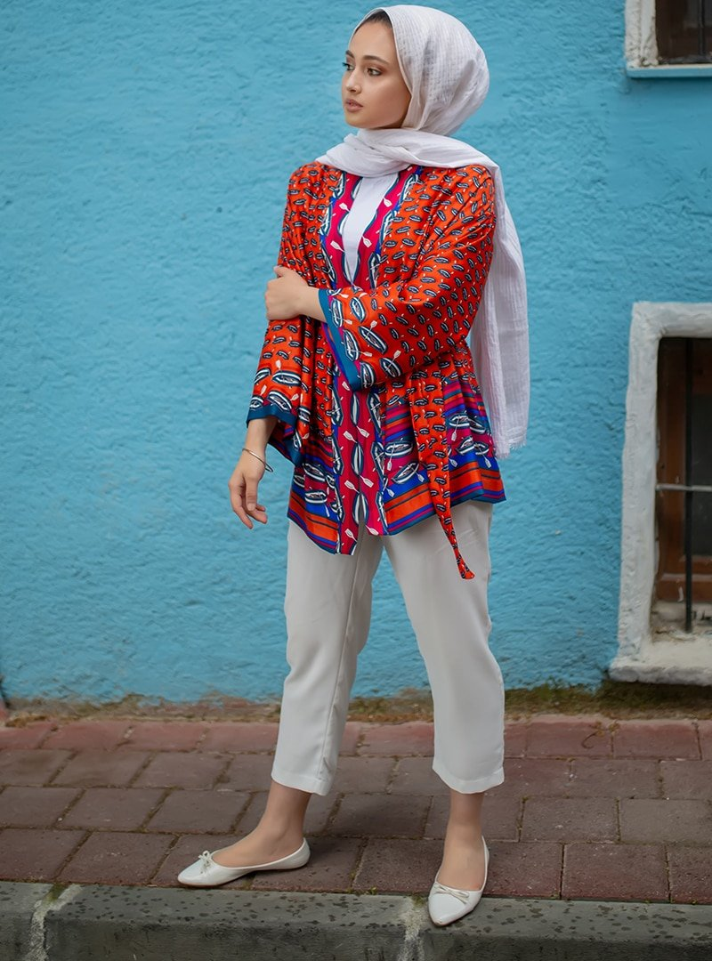 Sazze Design Desenli Kimono