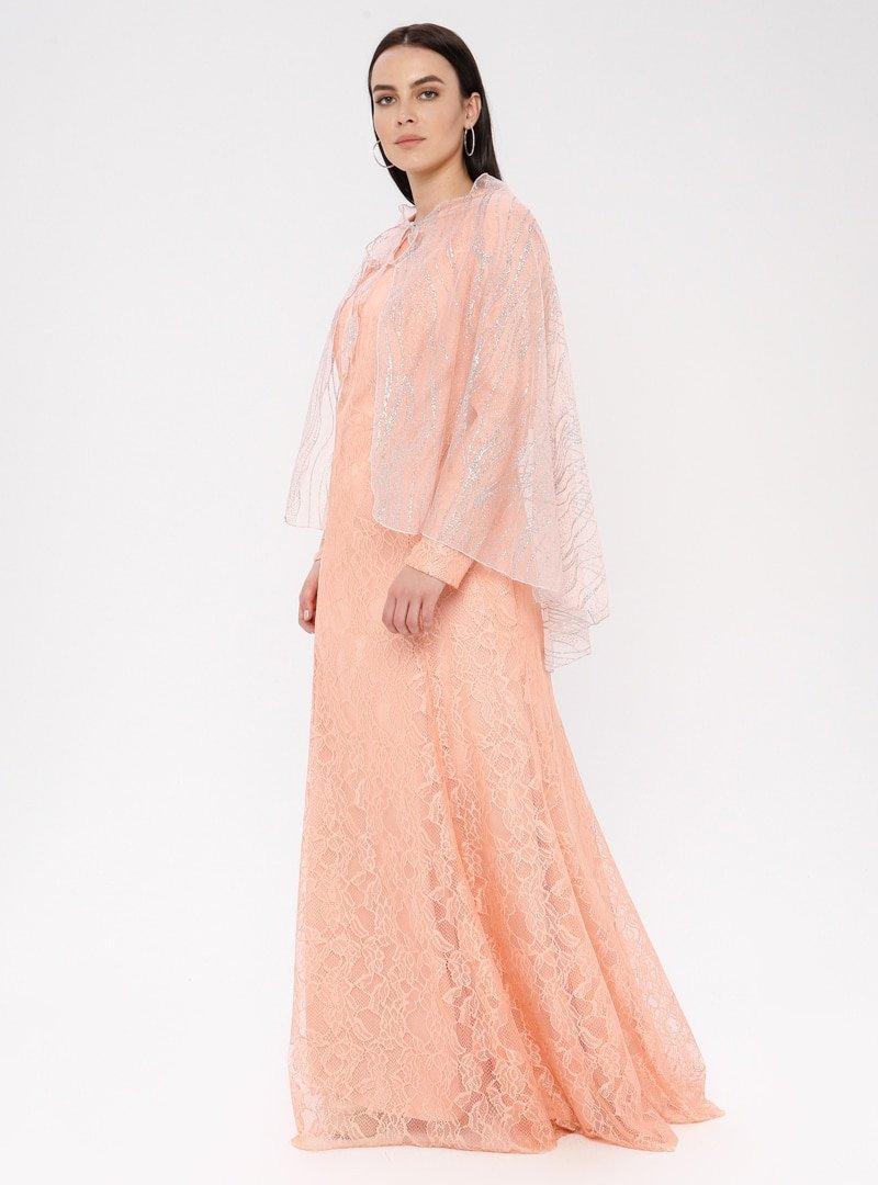Mileny Pudra Pelerinli Abiye Elbise