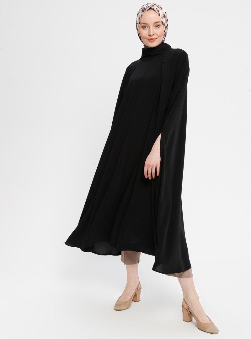 Loreen By Puane Siyah Düz Renk Panço