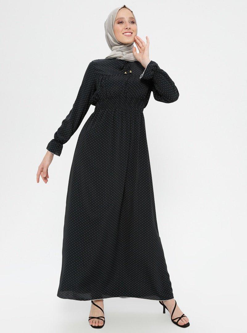 Ginezza Siyah Beli Büzgülü Elbise