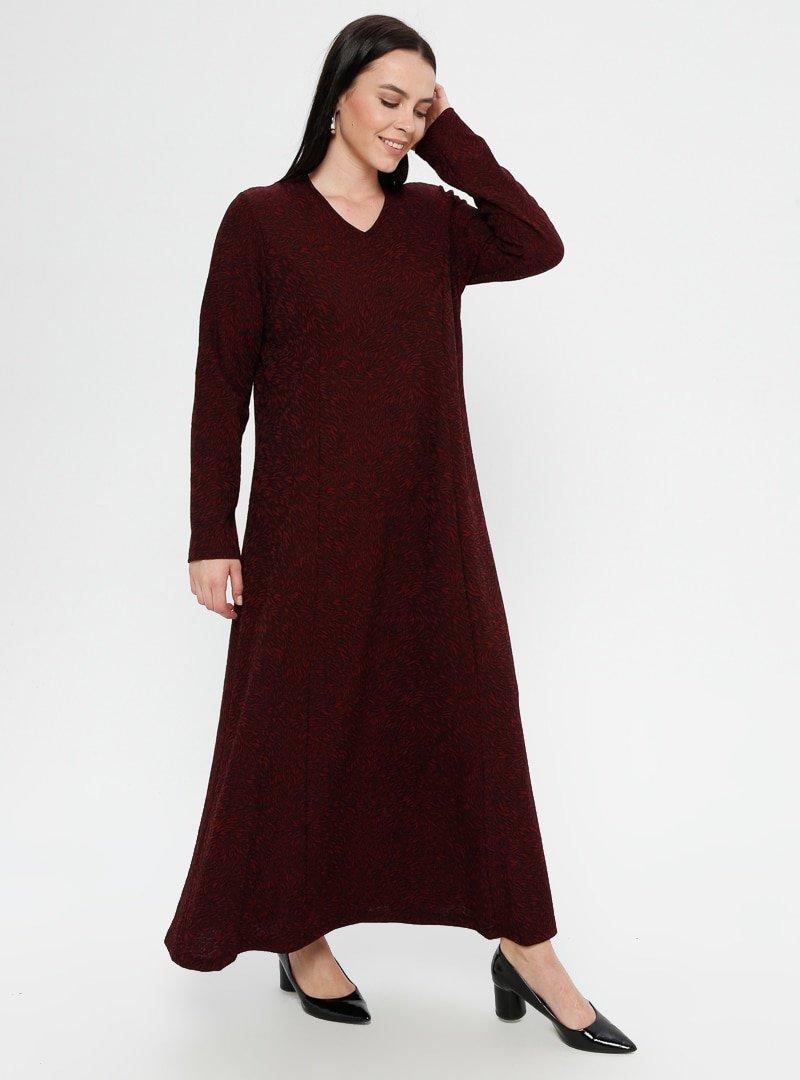SOFMINA Bordo Desenli V Yaka Elbise