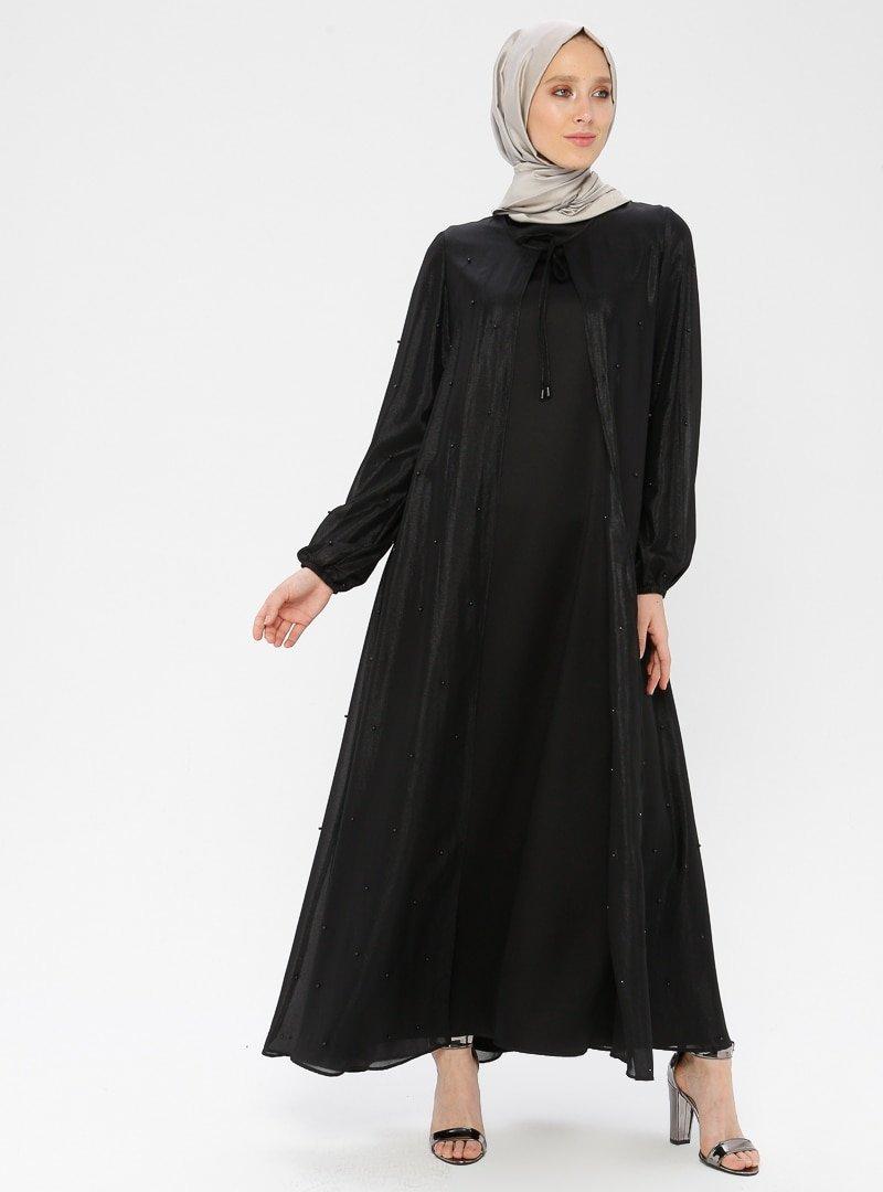 TUĞBA Siyah Boncuk Detaylı Tüllü Elbise