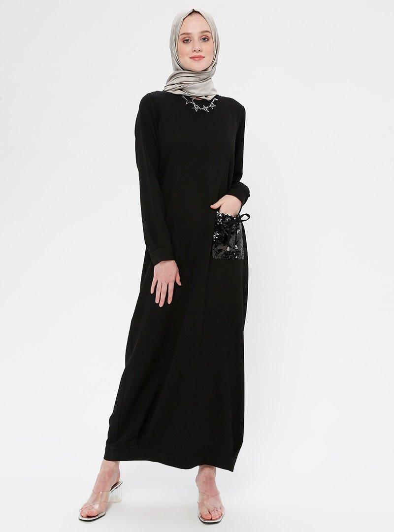Moda Zenis Siyah Payetli Cep Detaylı Elbise