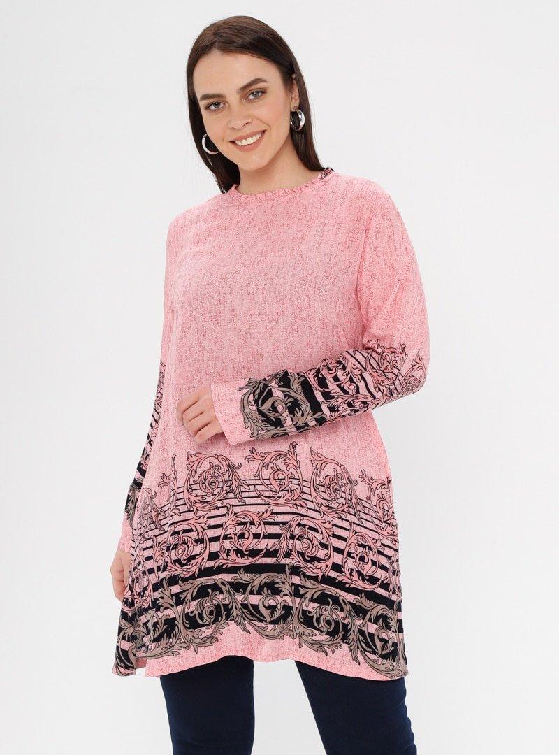 Genç Style Pudra Yaka Detaylı Desenli Tunik
