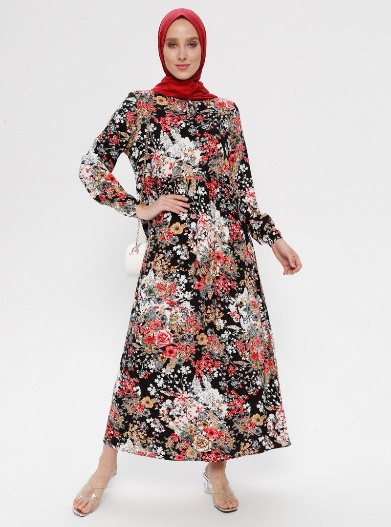 ECESUN Siyah Yakası Bağcıklı Elbise