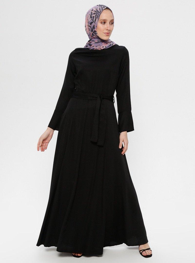 Zinet Siyah Volan Detaylı Elbise