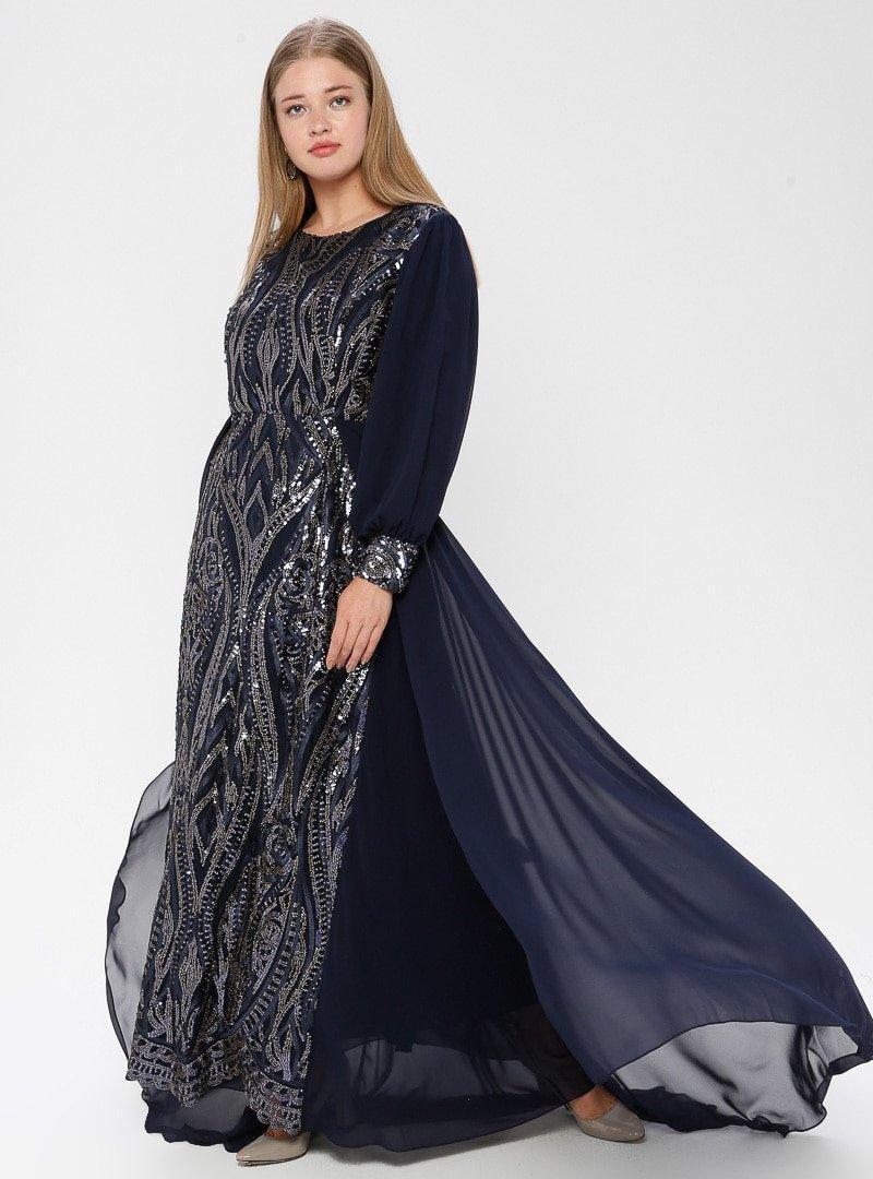 Arıkan Lacivert Payetli Abiye Elbise