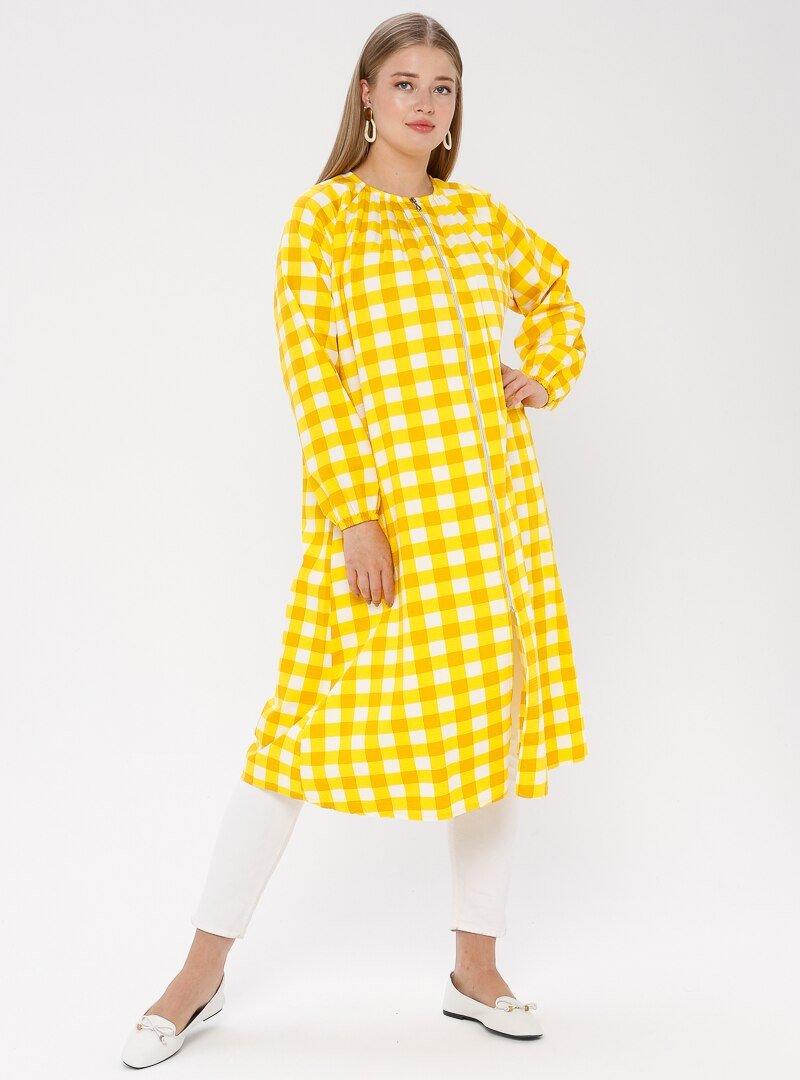 ModaNaz Sarı Fermuarlı Kap