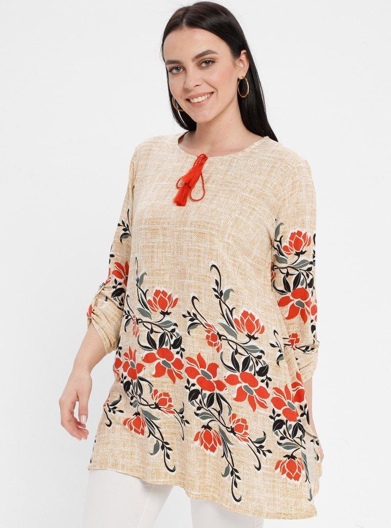Genç Style Vizon Çiçek Desenli Tunik
