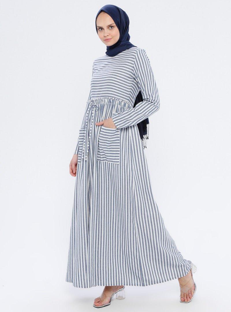 BÜRÜN Lacivert Çizgili Elbise