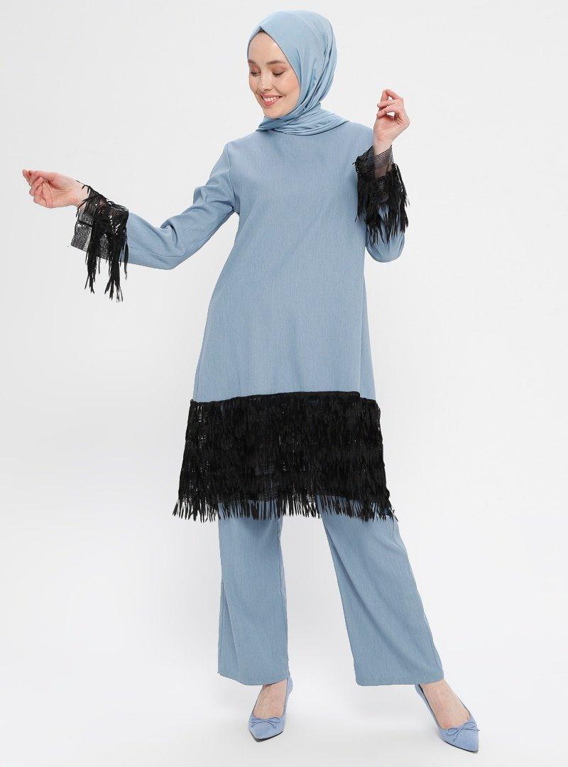 BÜRÜN Mavi Püskül Detaylı Tunik & Pantolon İkili Takım