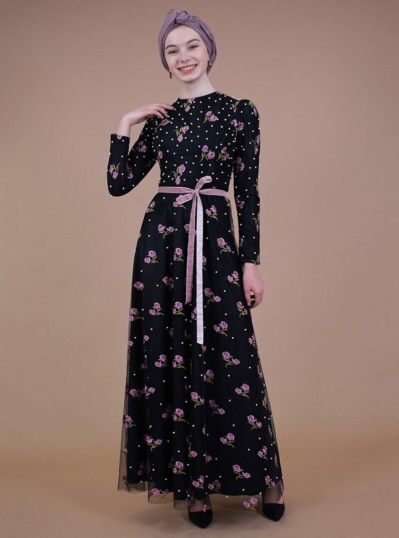 Sew&Design Siyah-pembe İnci Nakışlı Abiye Elbise