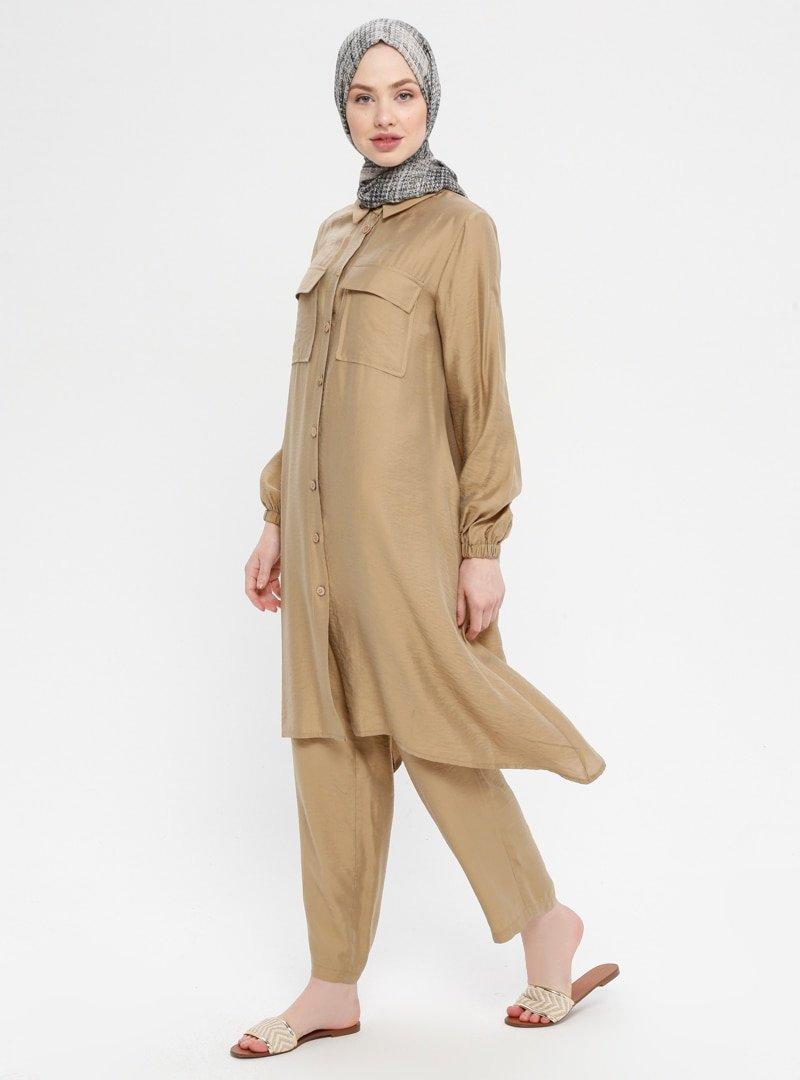 Panaline Camel Düğmeli Tunik&Pantolon İkili Takım