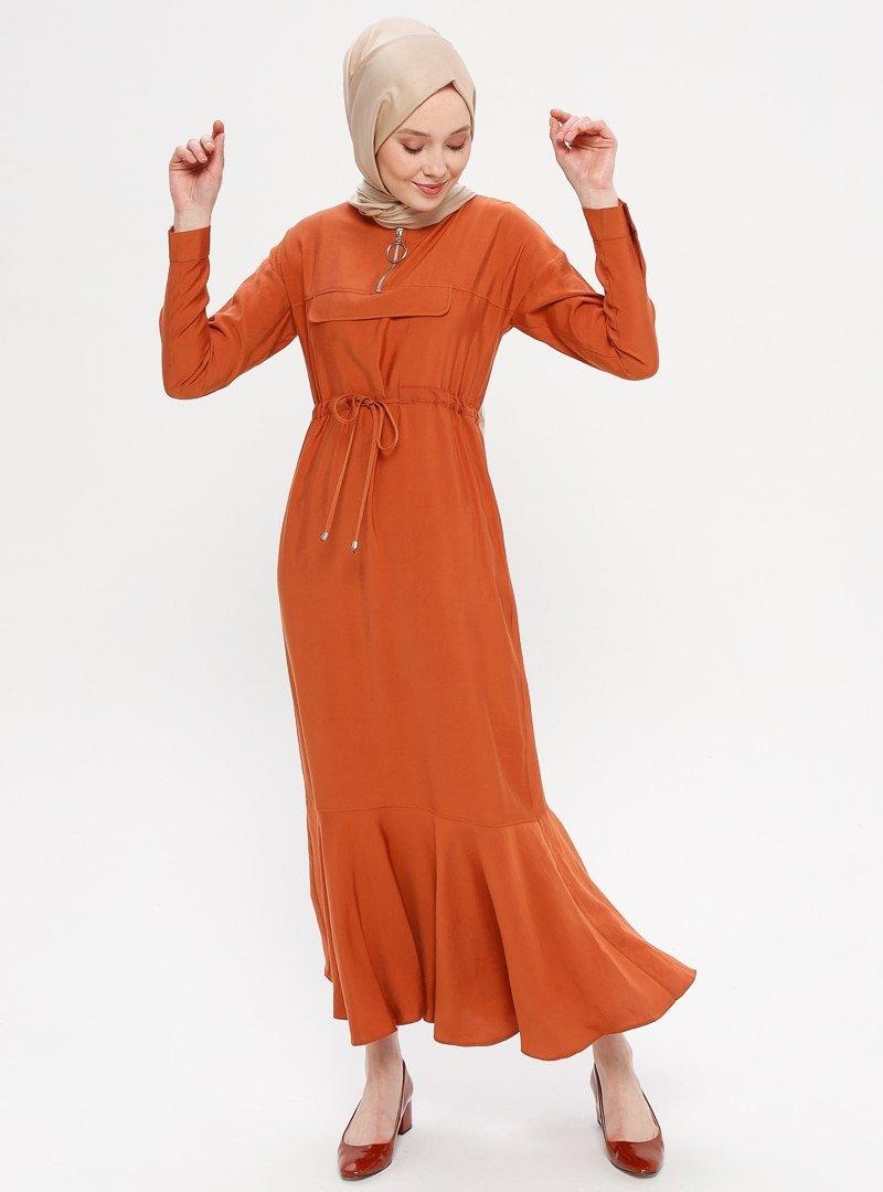Loreen By Puane Kiremit Fermuar Yaka Detaylı Elbise