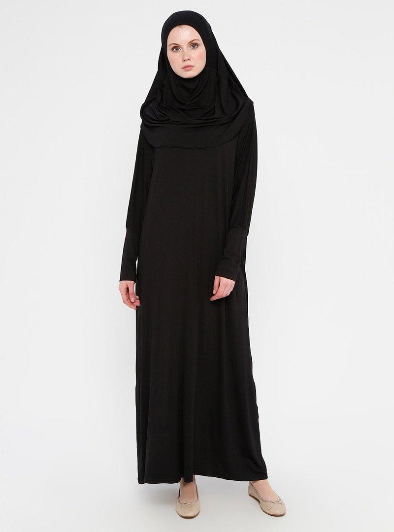 Miss Cazibe Siyah Tek Parça Namaz Elbisesi