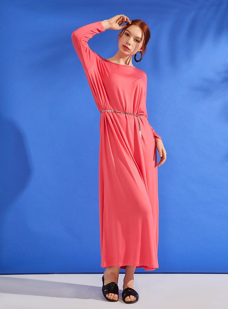 Muni Muni Fuşya Zincir Kemerli Doğal Kumaşlı Elbise