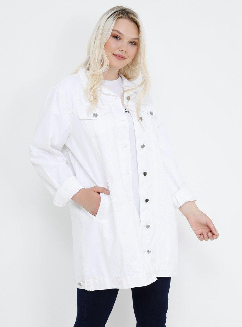 Alia Beyaz Doğal Kumaşlı Kot Ceket
