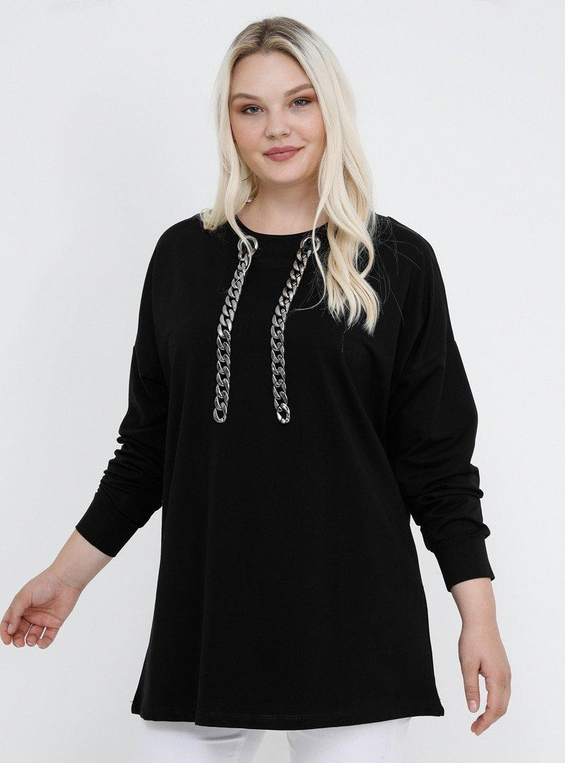 Alia Siyah Doğal Kumaşlı Yakası Zincir Detaylı Bluz