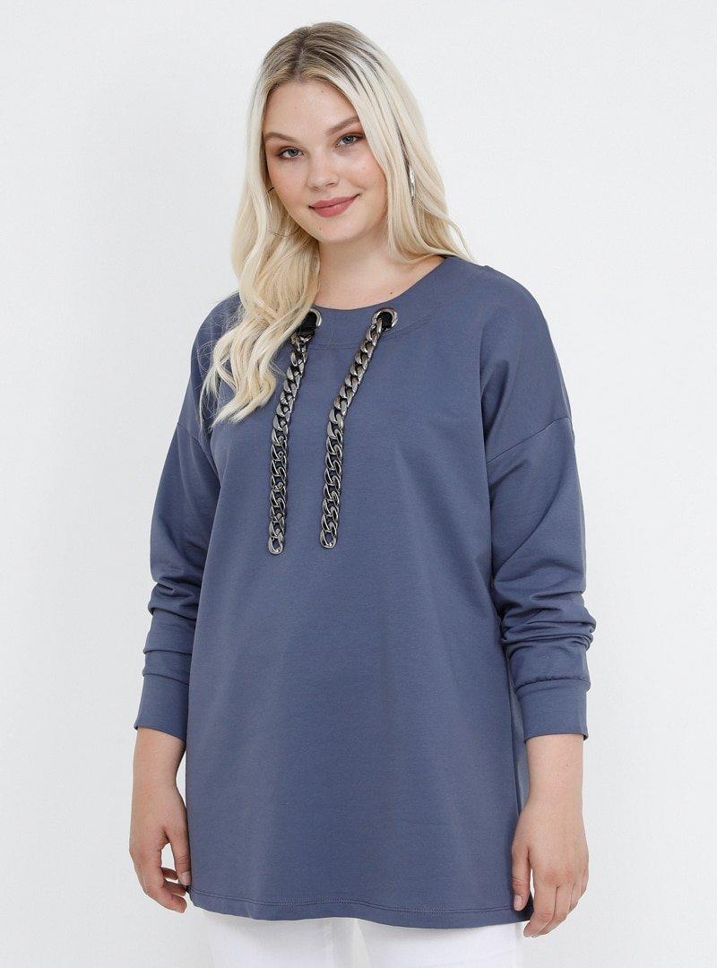 Alia Menekşe Doğal Kumaşlı Yakası Zincir Detaylı Bluz