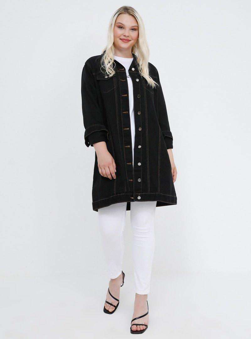Alia Siyah Doğal Kumaşlı Kot Ceket