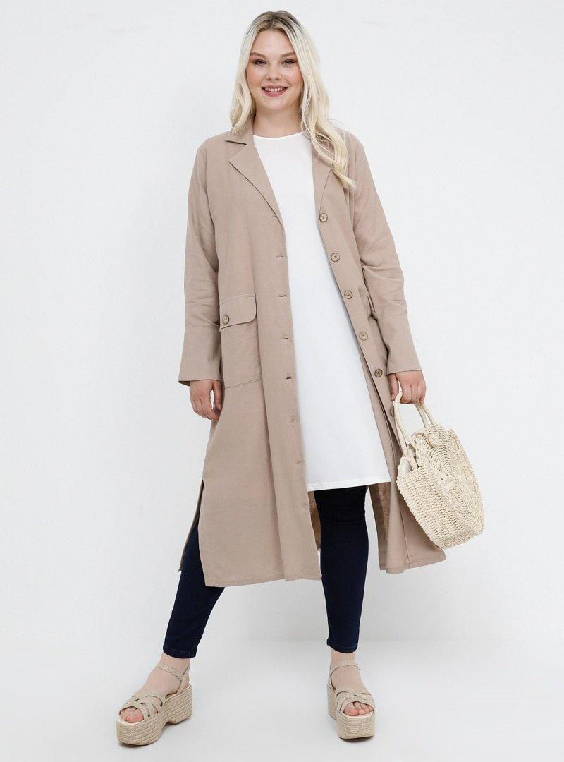 Alia Bej Doğal Kumaşlı Cep Detaylı Keten Ceket