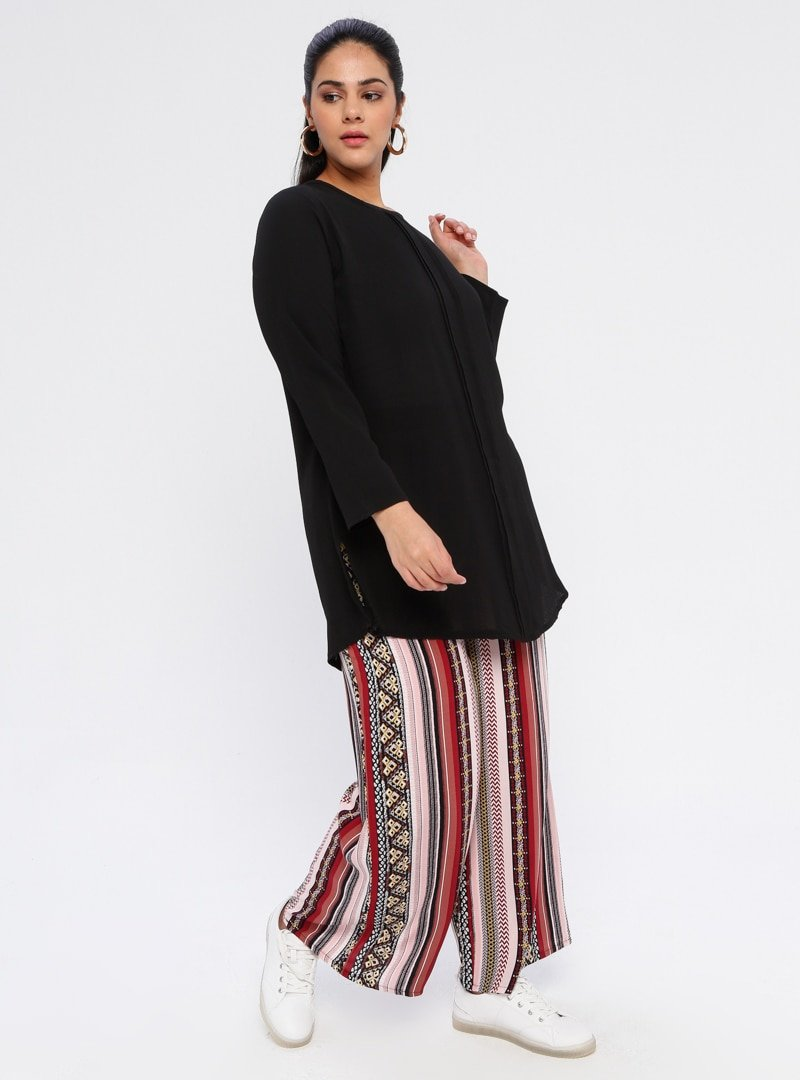 Genç Style Bordo Desenli Bol Paça Pantolon