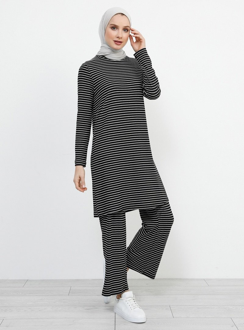 Refka Siyah Beyaz Tunik&Pantolon İkili Takım