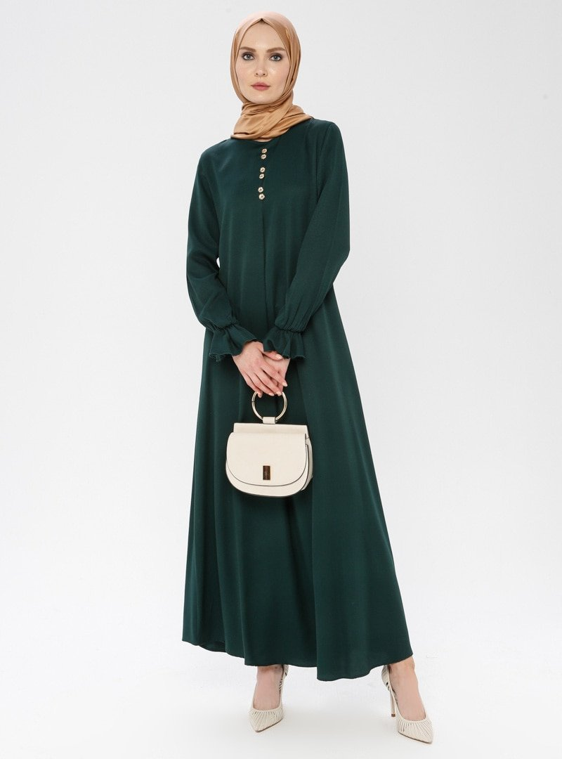 ECESUN Zümrüt Dore Düğme Detaylı Elbise
