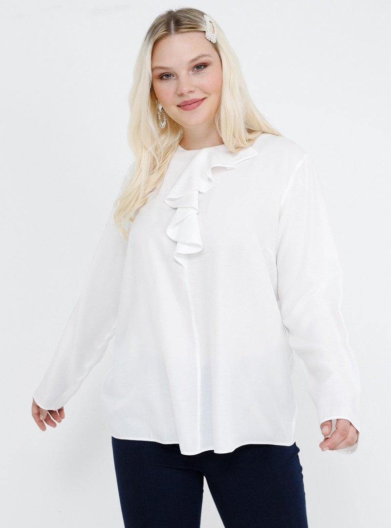 Alia Ekru Volan Detaylı Bluz