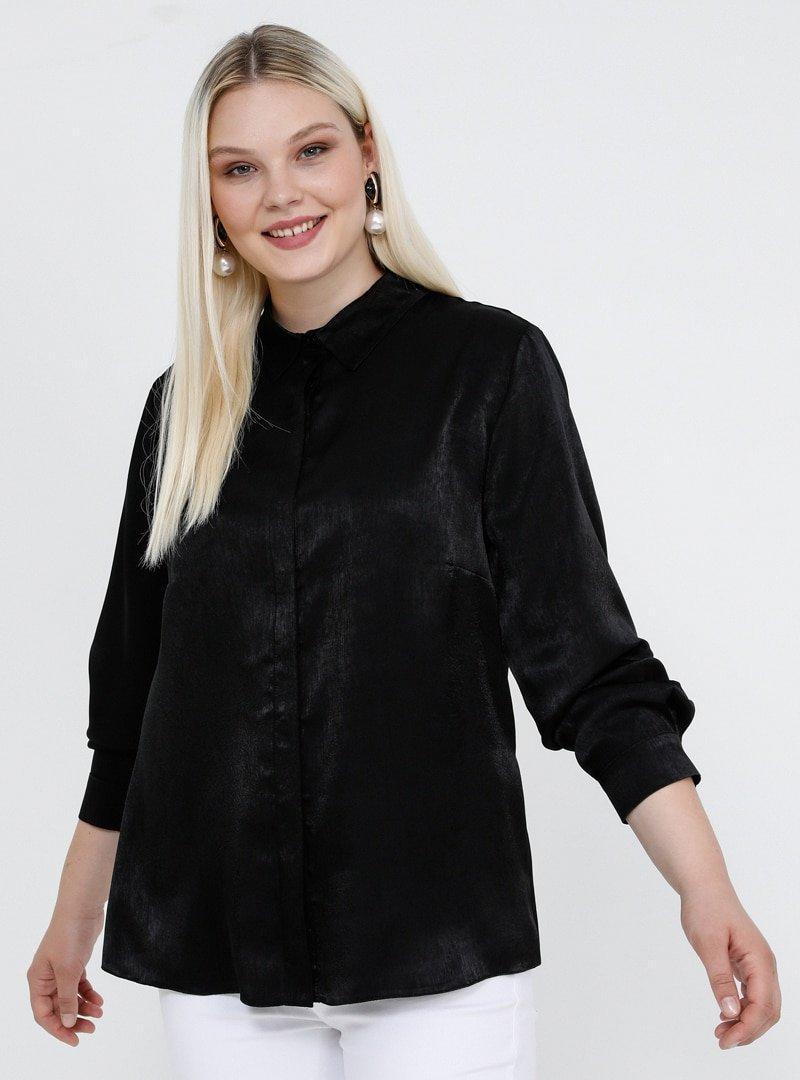 Alia Siyah Gizli Düğmeli Gömlek