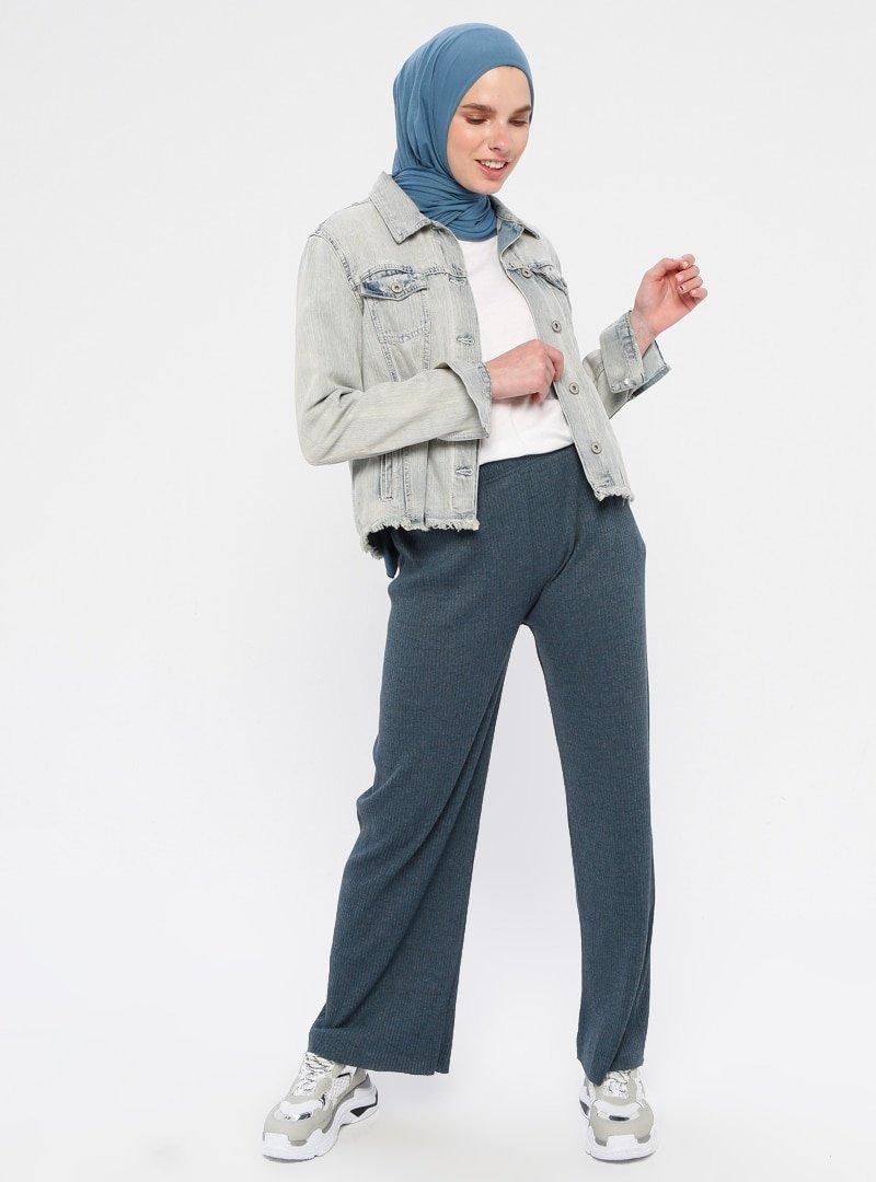 Çat Pat Tekstil Açık Lacivert Beli Lastikli Bol Paça Pantolon