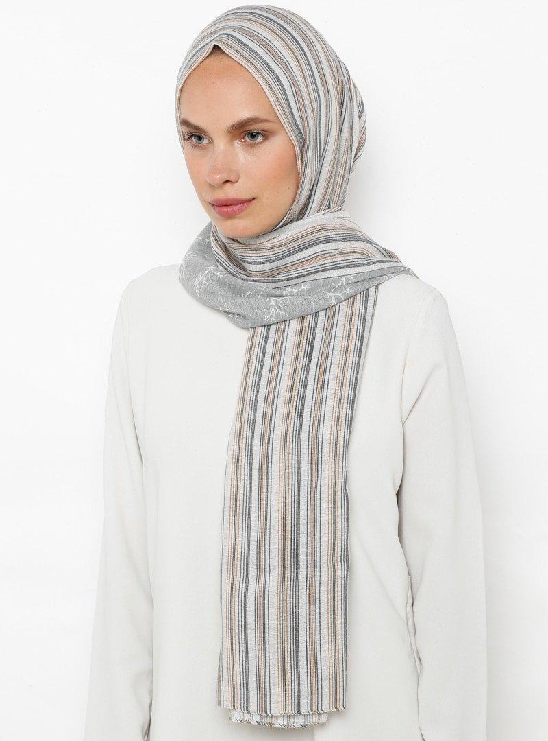 ŞALESS Gümüş Çizgili Şal