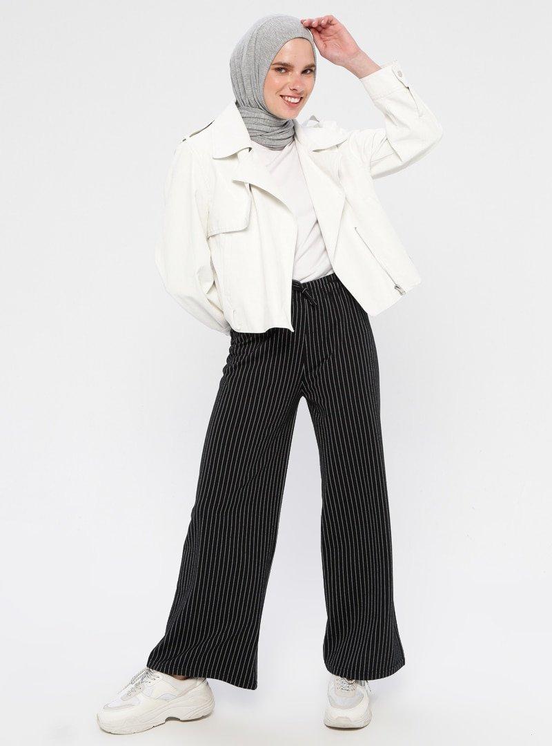 Çat Pat Tekstil Siyah Çizgili Pantolon