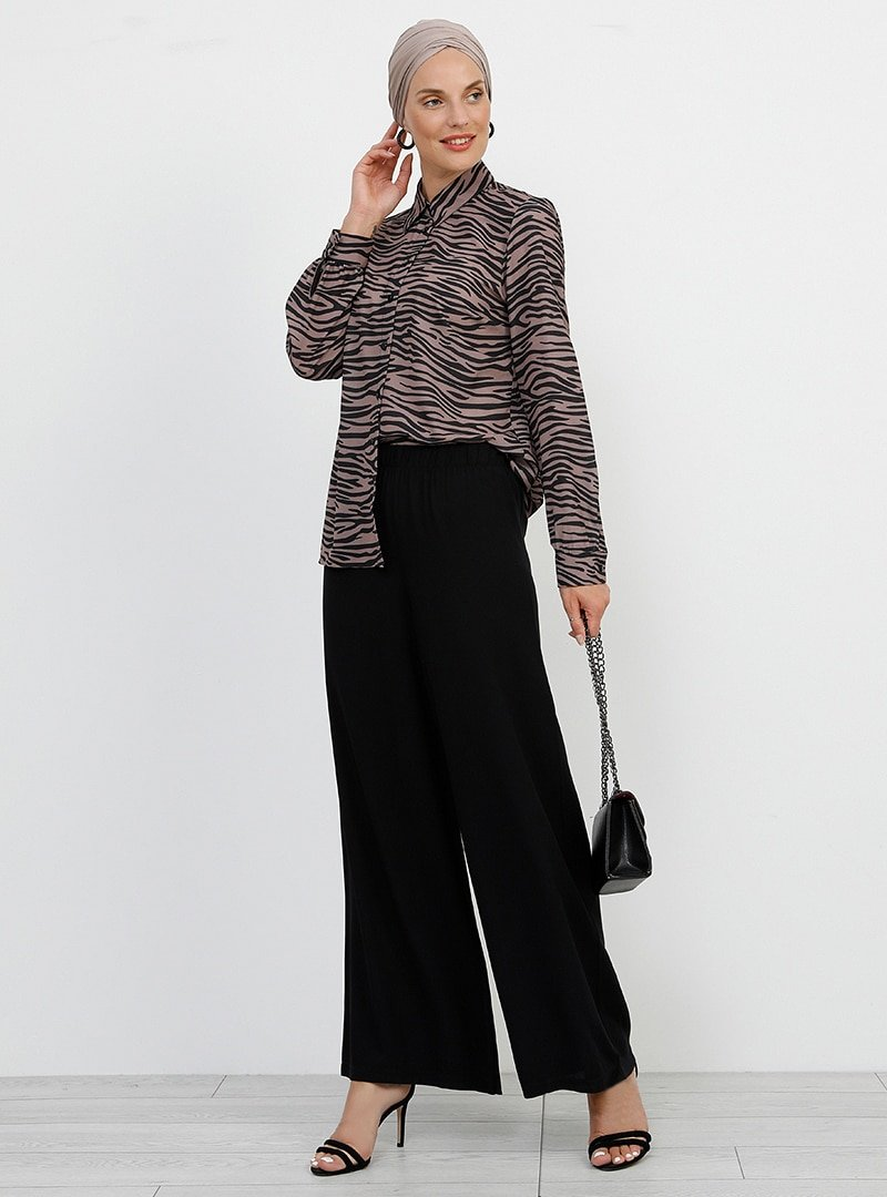Refka Siyah Doğal Kumaşlı Beli Lastikli Pantolon