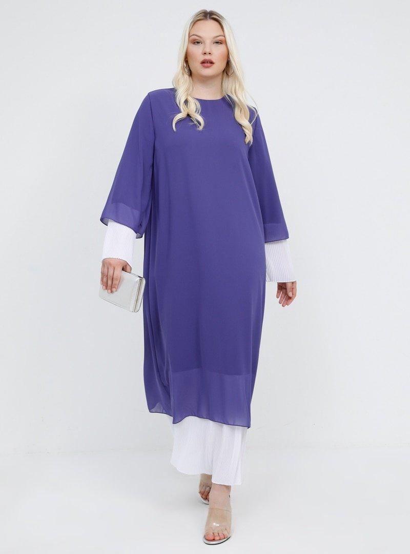 Alia Leylak Beyaz Pilise Detaylı Abiye Elbise