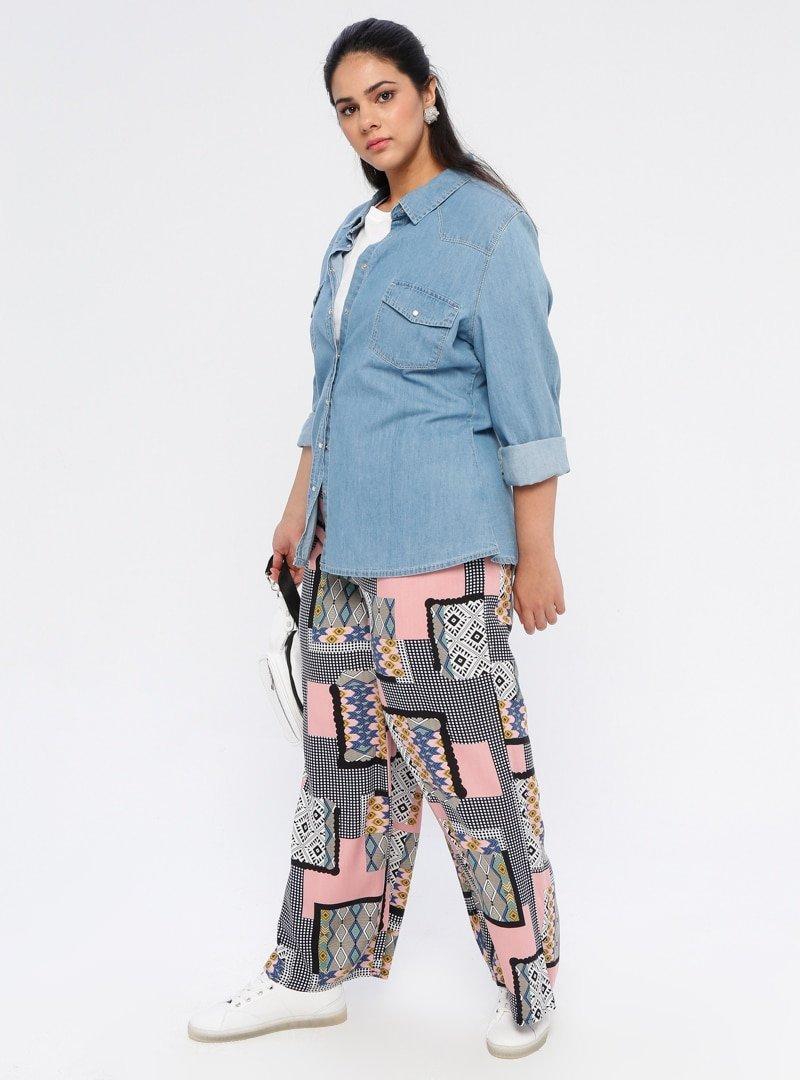 Genç Style Pembe Desenli Bol Paça Pantolon
