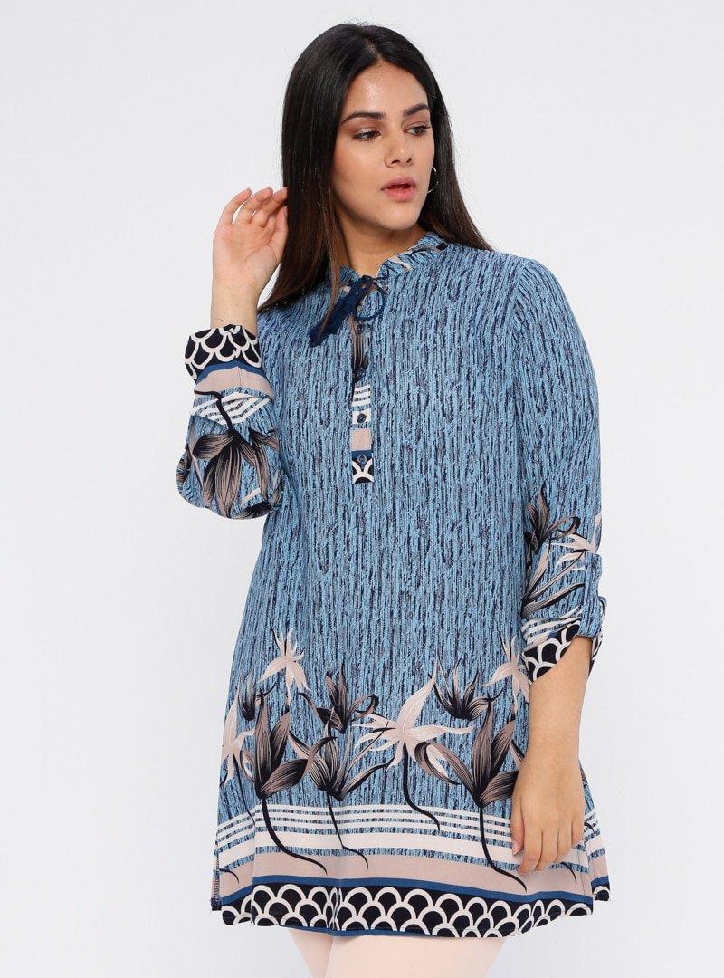 Genç Style Mavi Düğme Detaylı Desenli Tunik