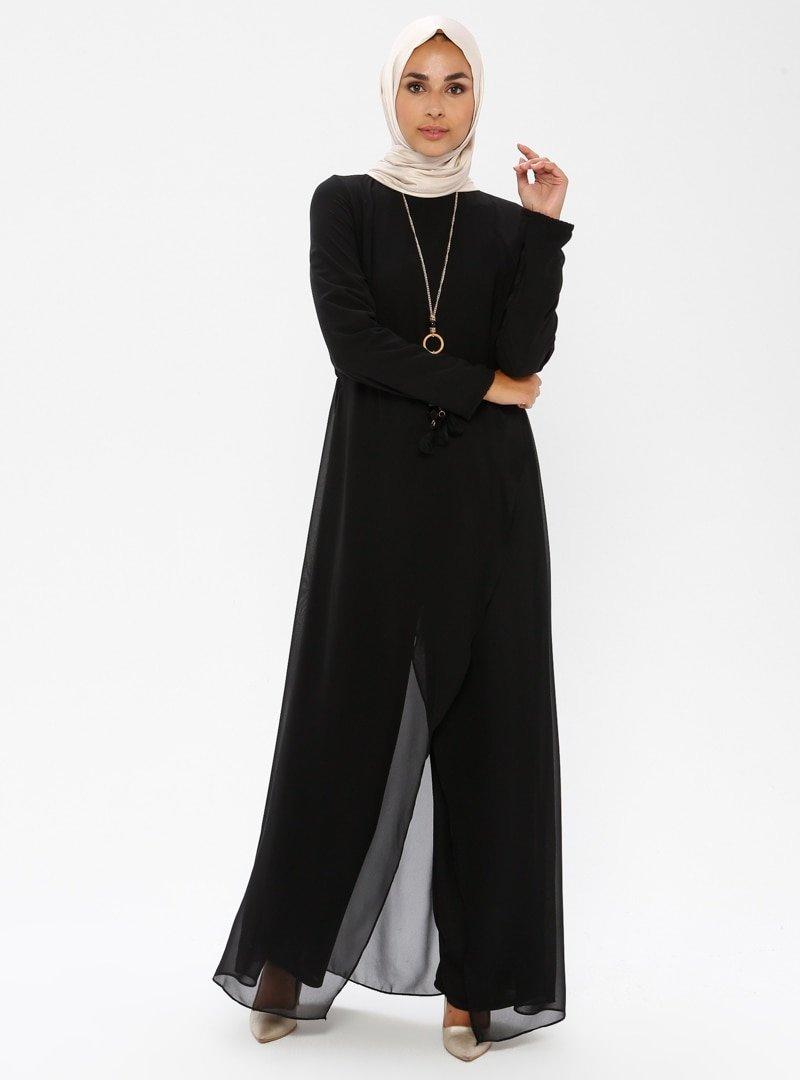MEKSİLA Siyah Kolyeli Tulum Elbise