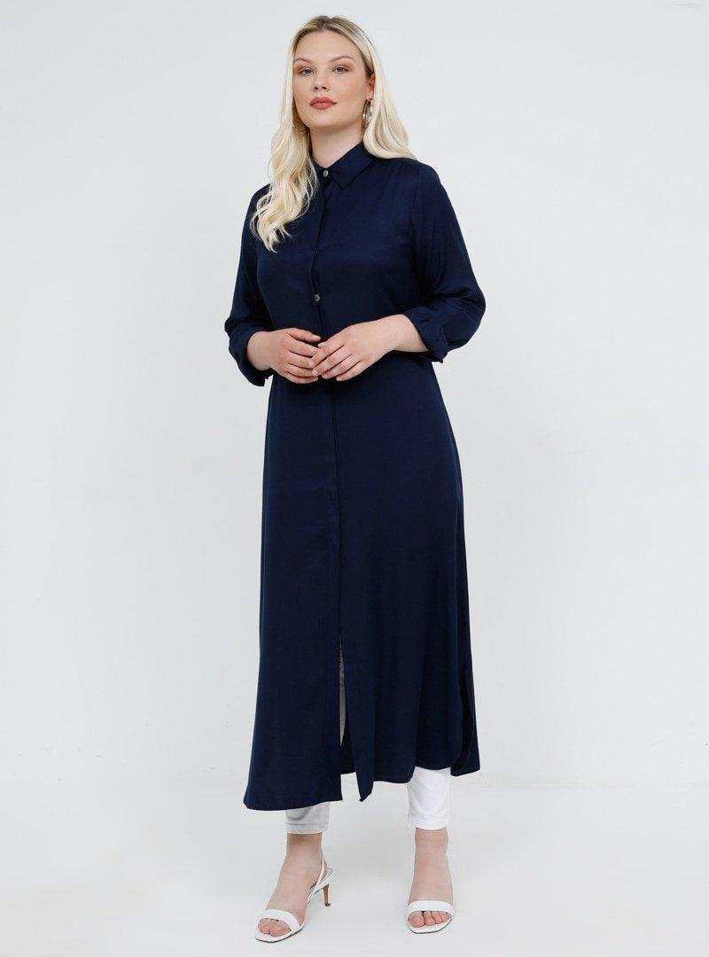 Alia Lacivert Doğal Kumaşlı Gizli Düğmeli Tunik