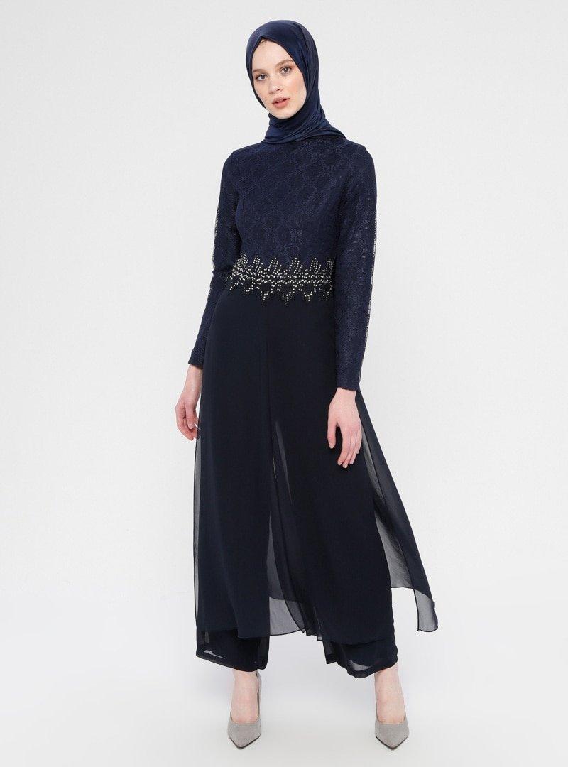 MEKSİLA Lacivert Şifon Detaylı Abiye Tulum Elbise